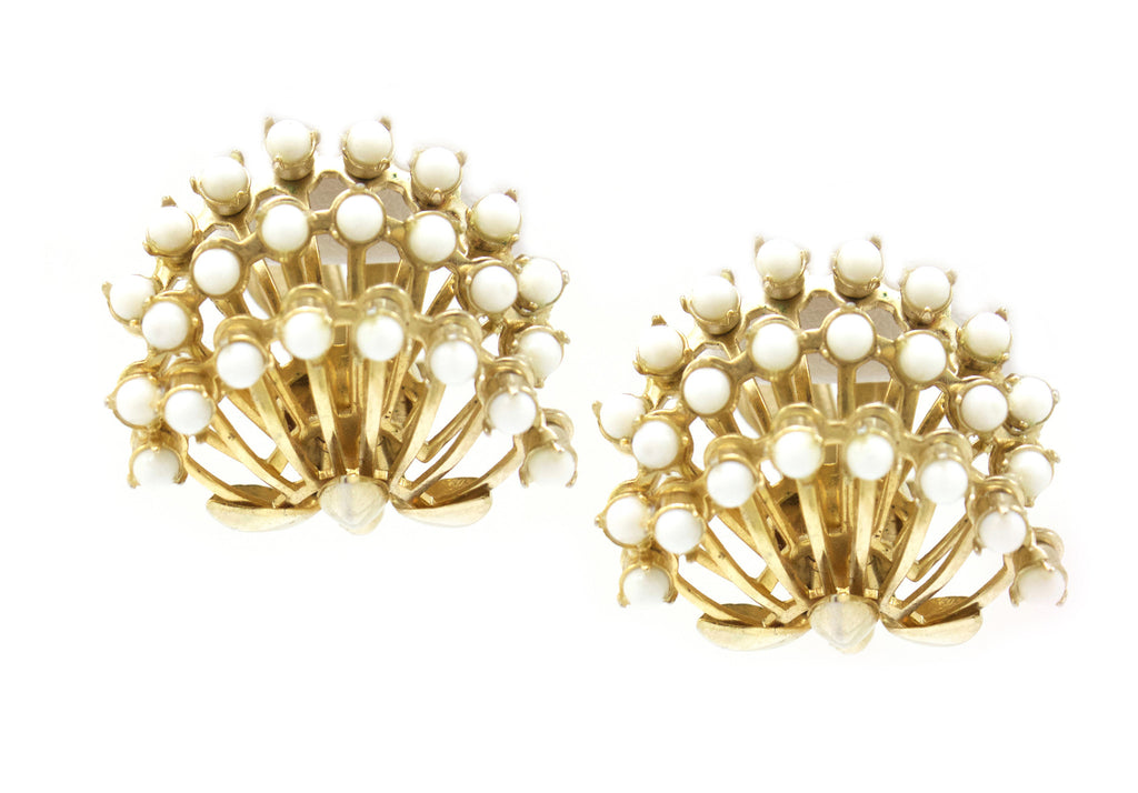 Hattie Carnegie white floral earrings