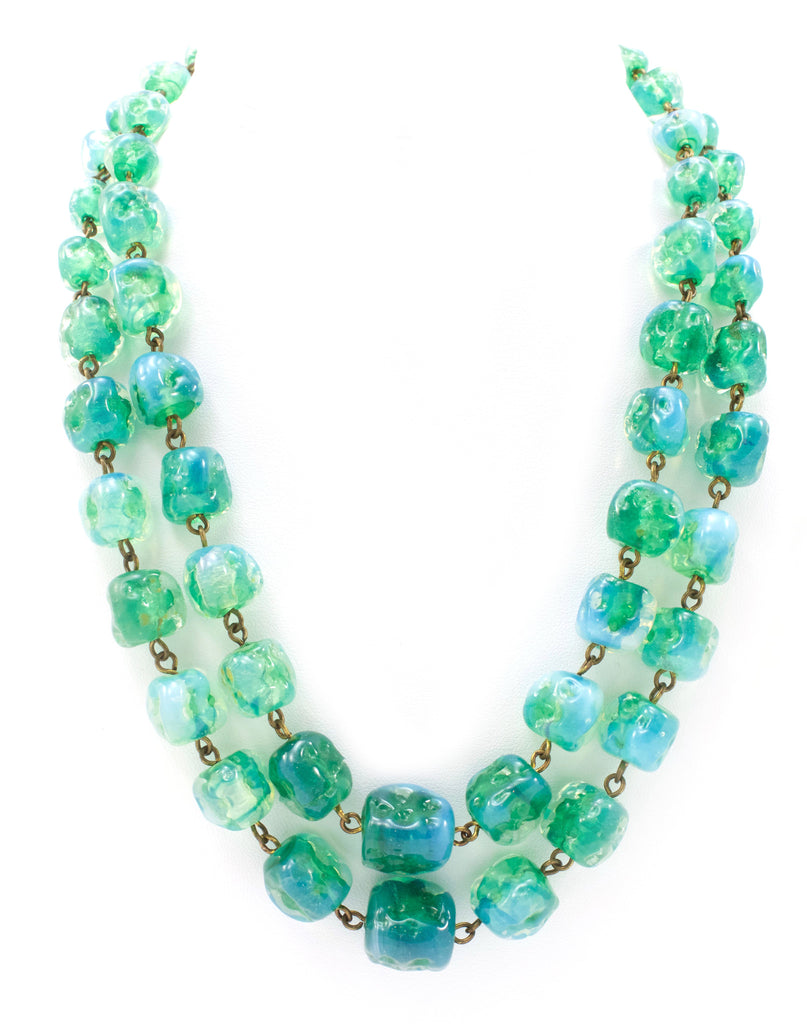 Unsigned Green Glass Necklace