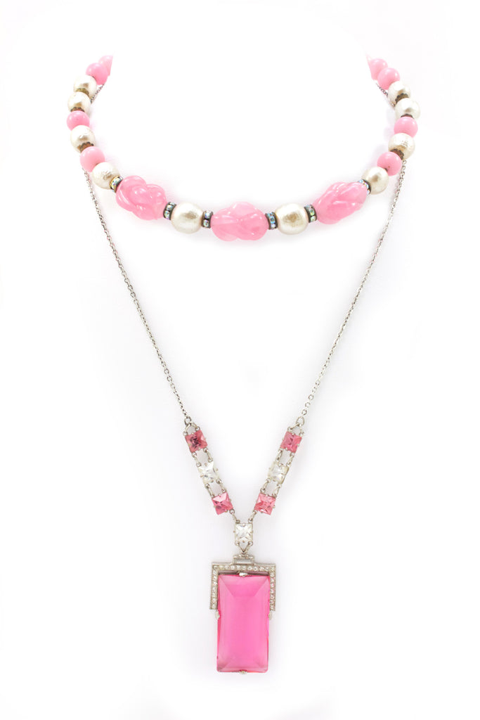Pink crystal choker with pendant