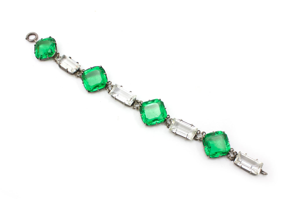1920s Unsigned Green Chicklet Bracelet