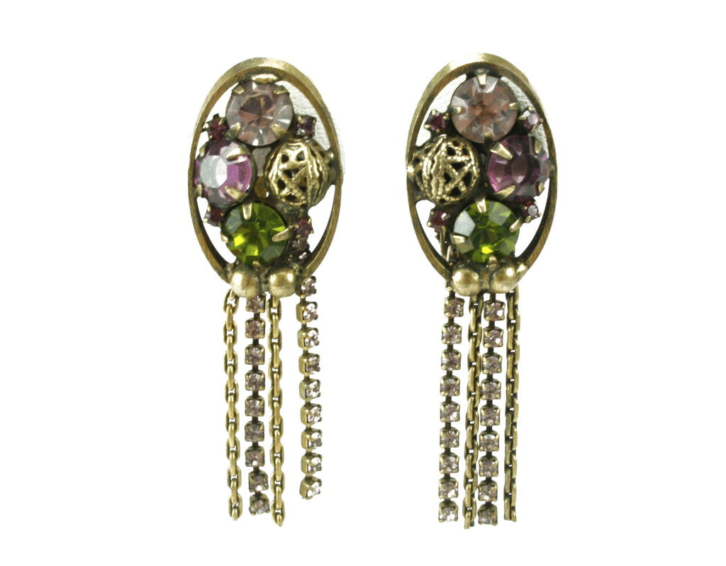 UNSIGNED PURPLE AND OLIVINE EARRINGS