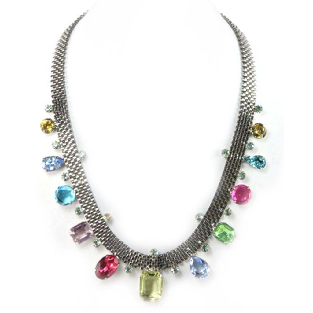 UNSIGNED SILVER MULTI COLORED NECKLACE