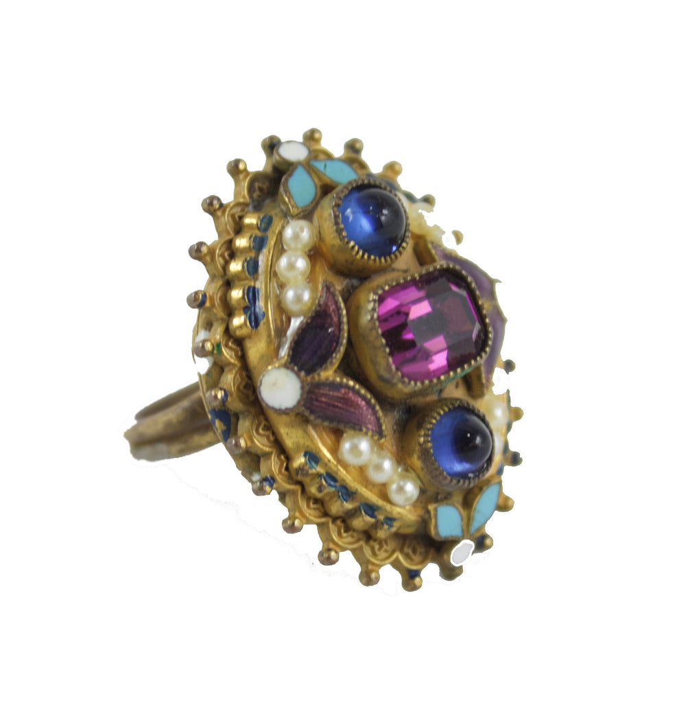 PURPLE, BLUE & PEARL RING