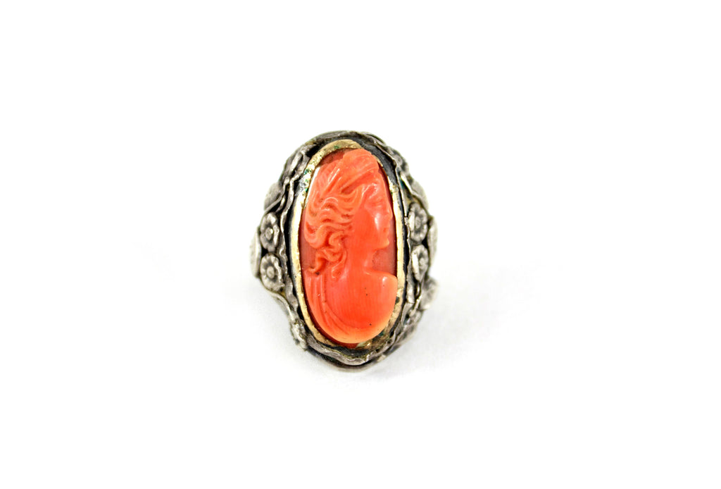 Sterling Silver with Coral Cameo Ring