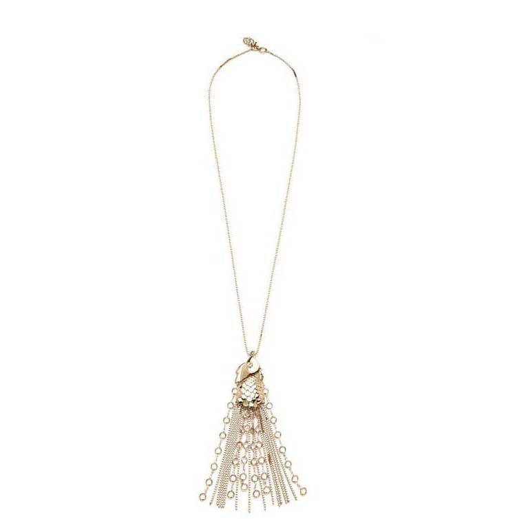 SEA GODDESS COLLECTION <br/> GOLDEN FISH TASSEL PENDANT NECKLACE