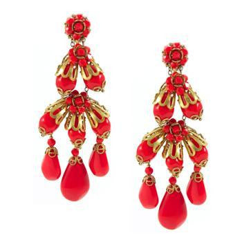 Miriam Haskell Red Chandelier Earrings