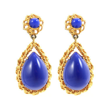 1960s Pauline Rader Blue Earrings