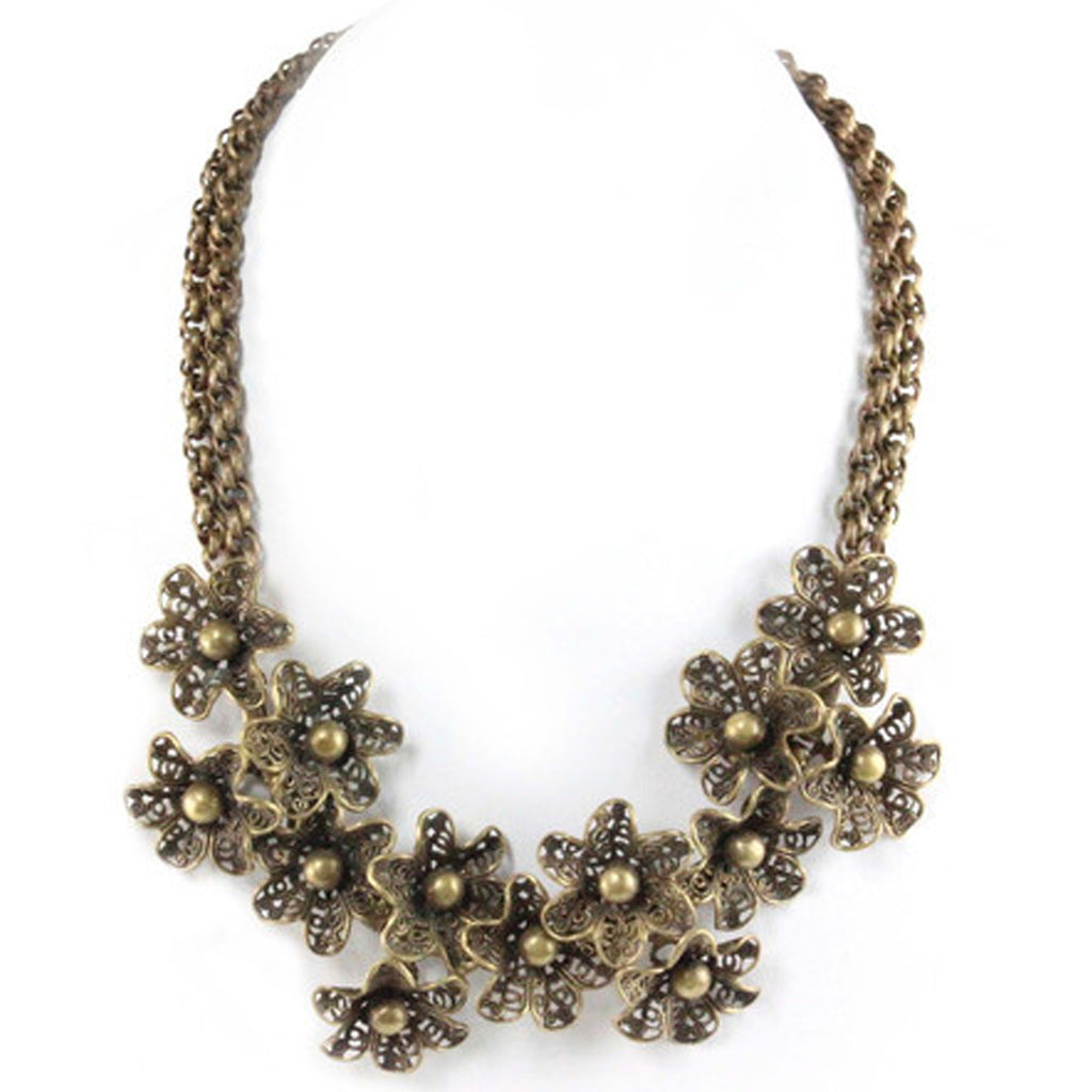UNSIGNED VICTORIAN FLORAL NECKLACE