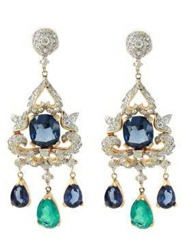 1950'S JOMAZ DIAMANTE EARRINGS WITH BLUE AND GREEN GLASS DANGLES