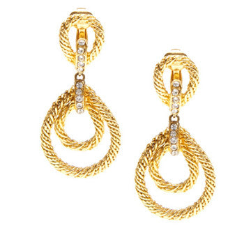 Christian Dior Gold Rope Earrings