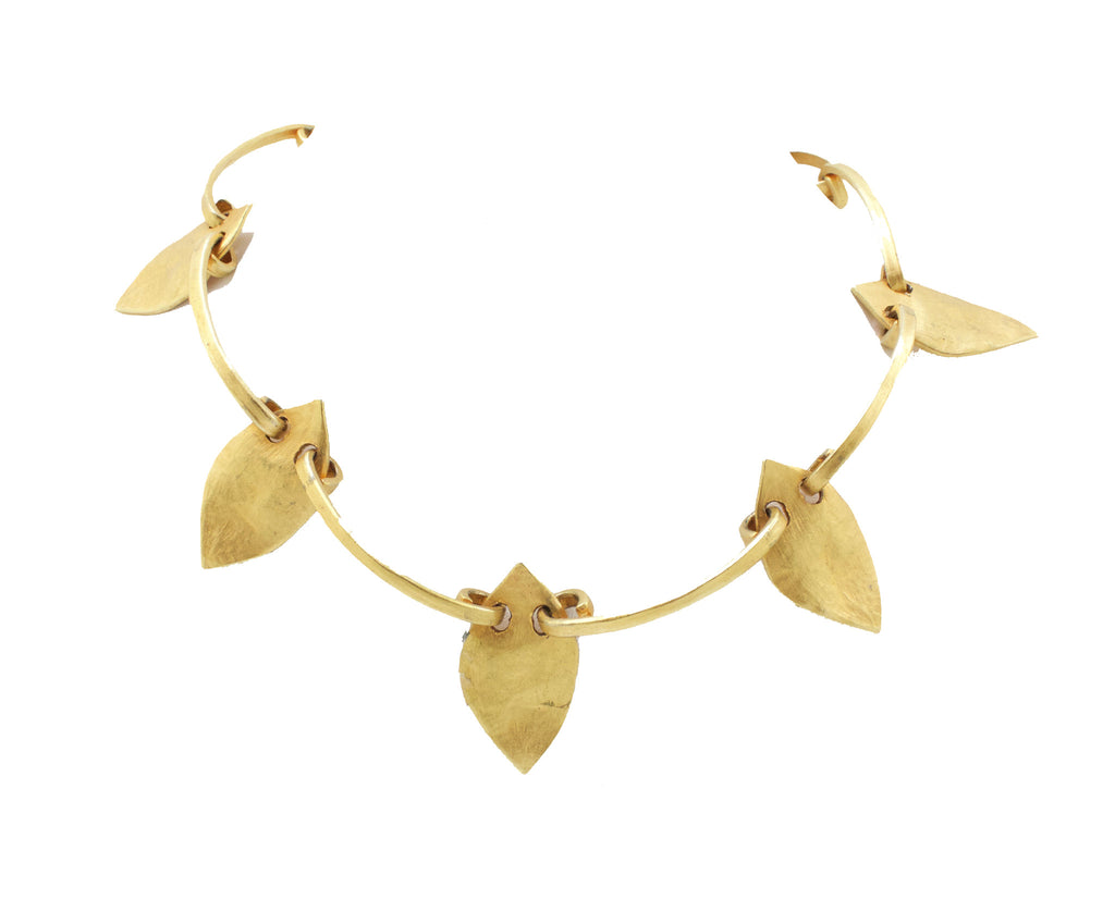 1990s Delphine Nardin gold tone leaf sculptural necklace