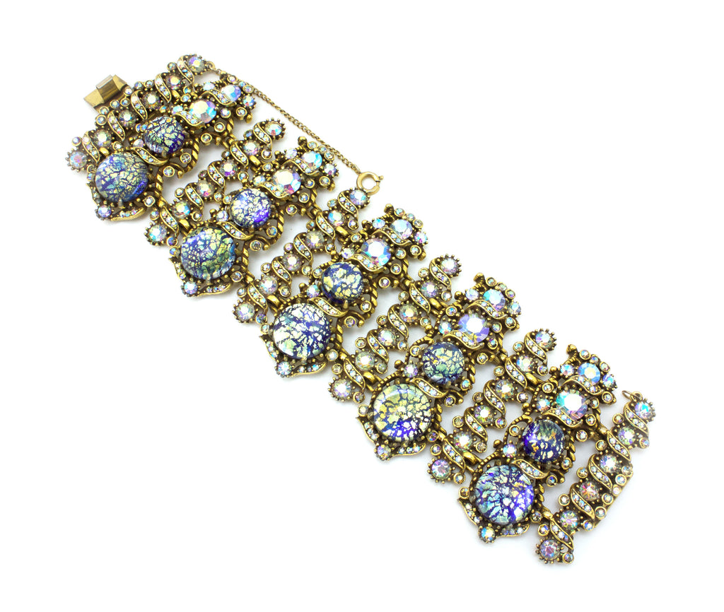 1958 Hollycraft large bracelet with blue cabochons