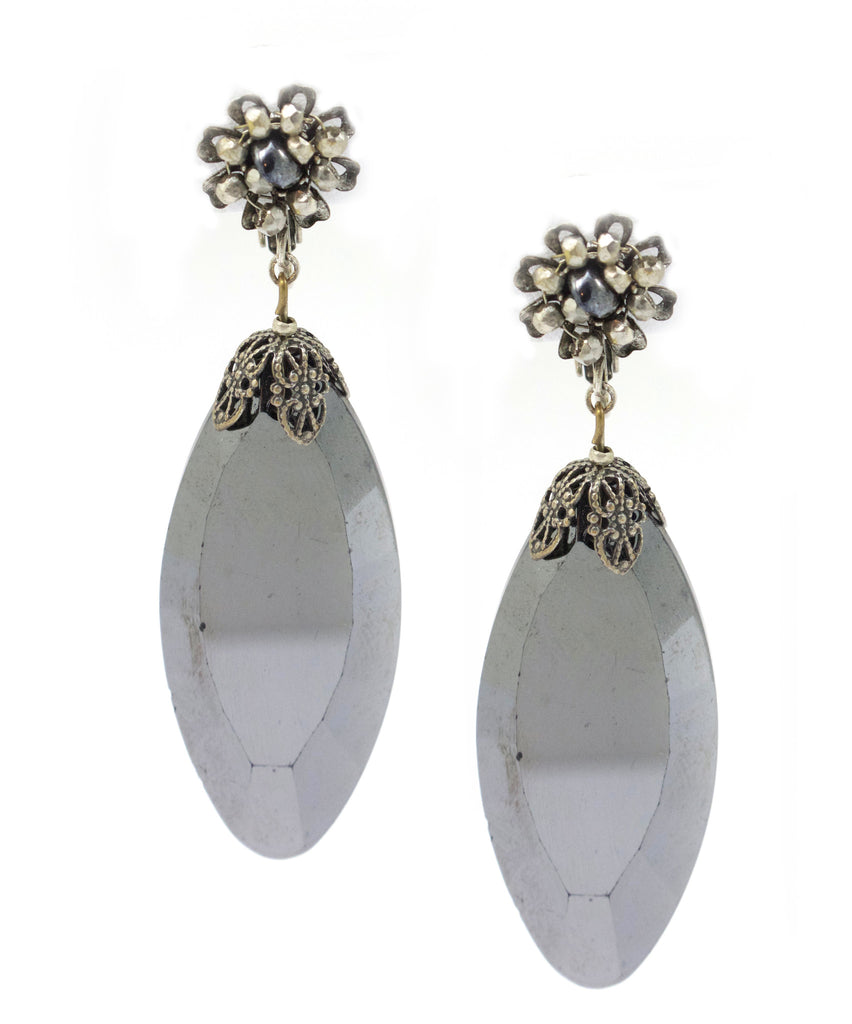1950's Miriam Haskell hematite drop earrings