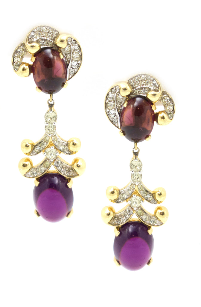 1950s Jomaz Purple Drop Earrings