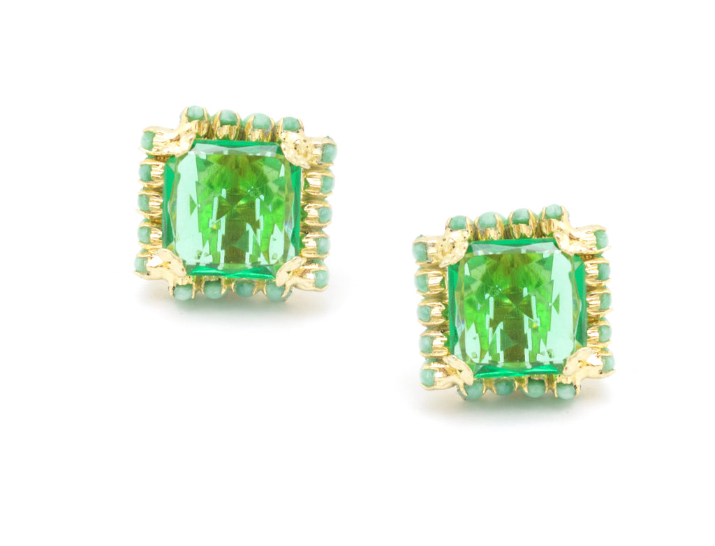 1950's Hattie Carnegie green square earrings