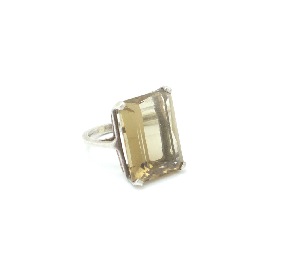 1930s smoky topaz glass ring
