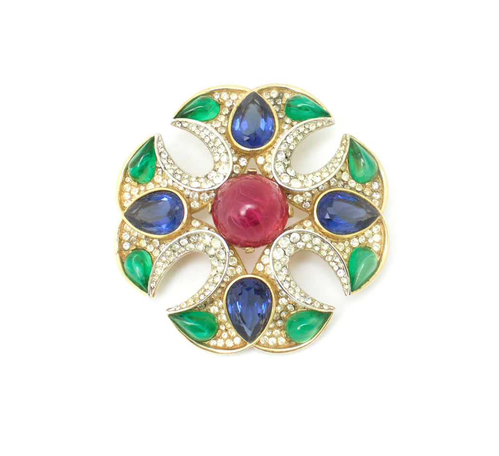 1960s Trifari by Alfred Philippe jewels of India collection Maltese cross pin