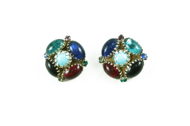 1950'S REINAD MULTI COLORED EARRINGS