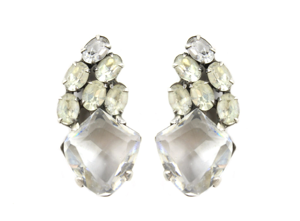 STERLING DIAMANTE EARRINGS