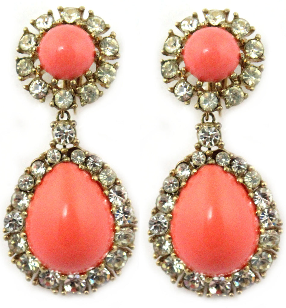 1950'S CINER CORAL EARRINGS
