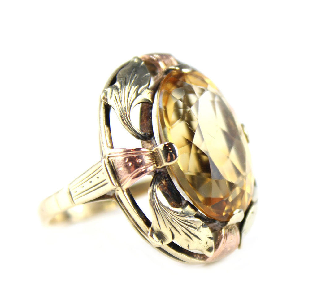 1940'S 14 KT TRI COLORED CITRINE RING
