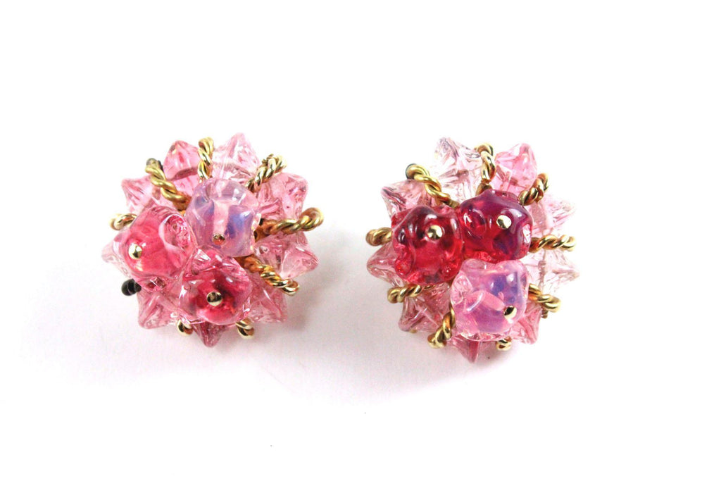 1950'S HATTIE CARNEGIE PINK EARRINGS