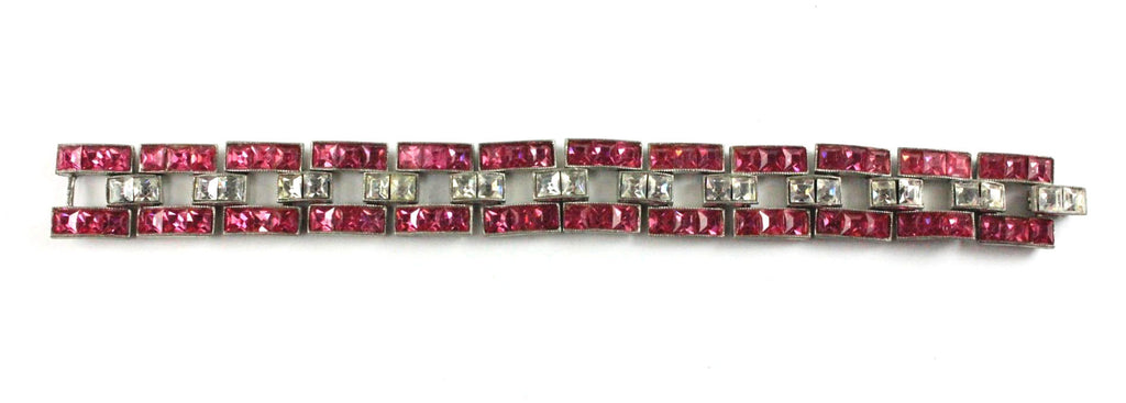 ART DECO PINK AND DIAMANTE BRACELET