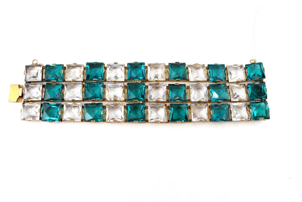 1950'S EMERALD AND CRYSTAL BRACELET