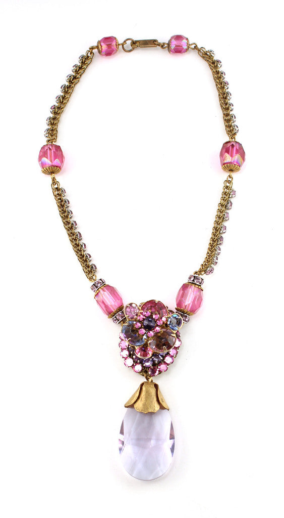 MIRIAM HASKELL PINK FLORAL NECKLACE
