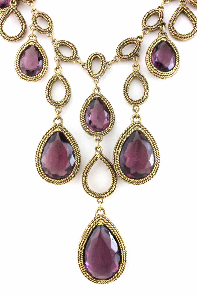 GOLDETTE PURPLE DROP NECKLACE