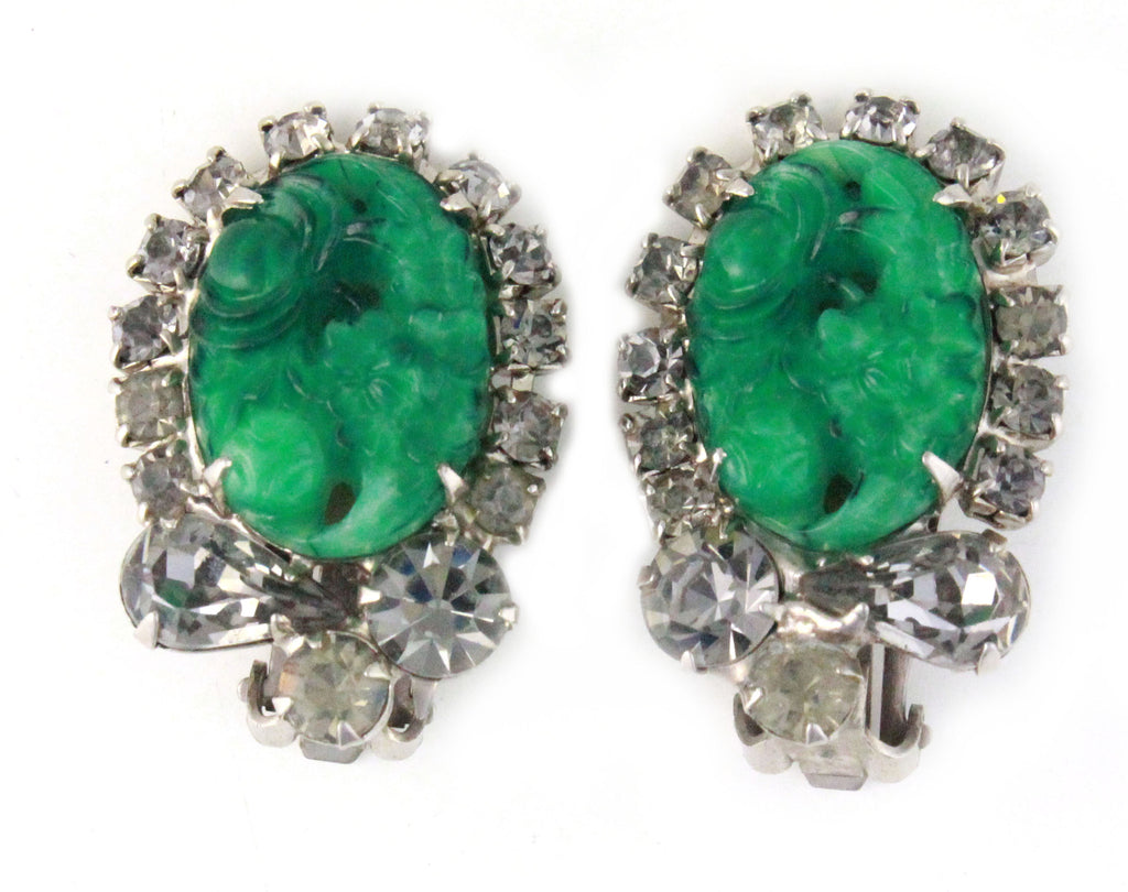 1950's JULIANNA DIAMANTE AND GREEN CARVED GLASS EARRINGS
