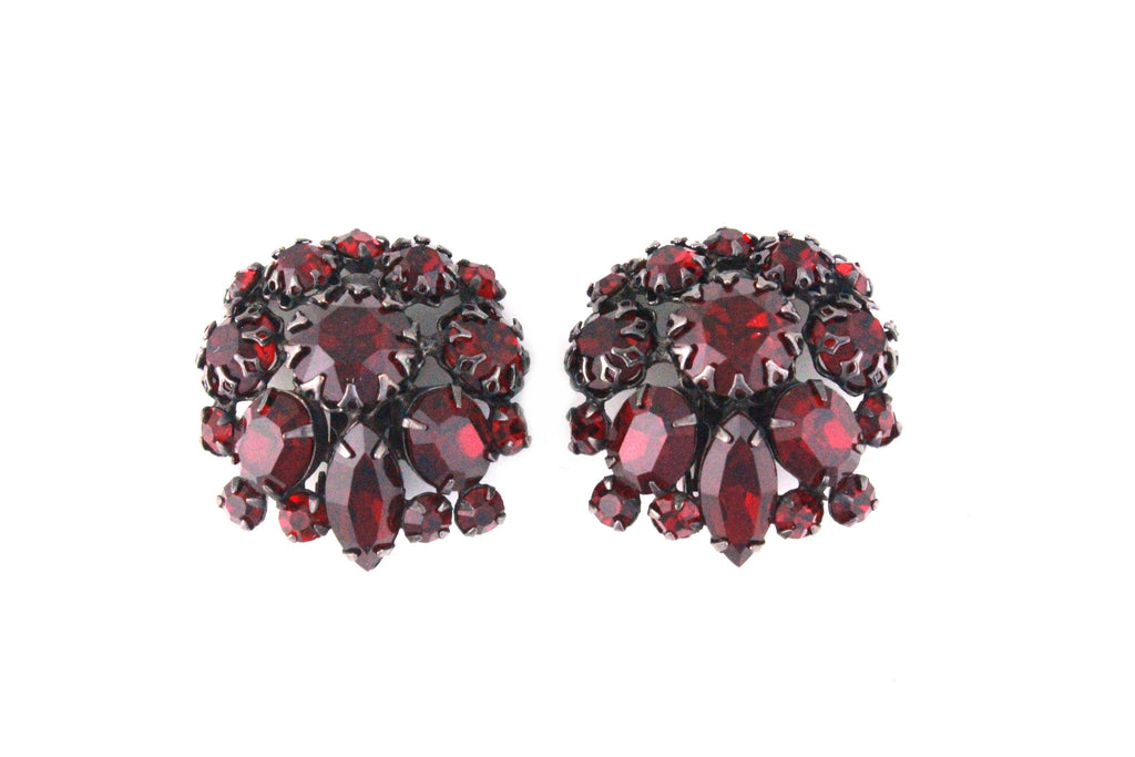 1950'S UNSIGNED SCHREINER RUBY EARRINGS