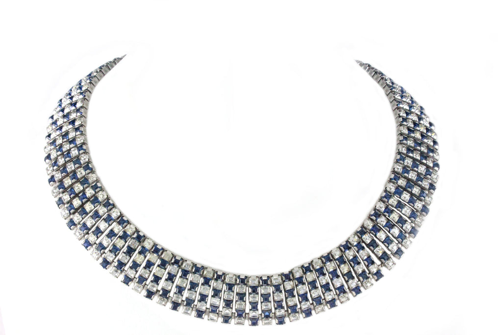 1950'S UNSIGNED DIAMANTE AND BLUE COLLAR NECKLACE