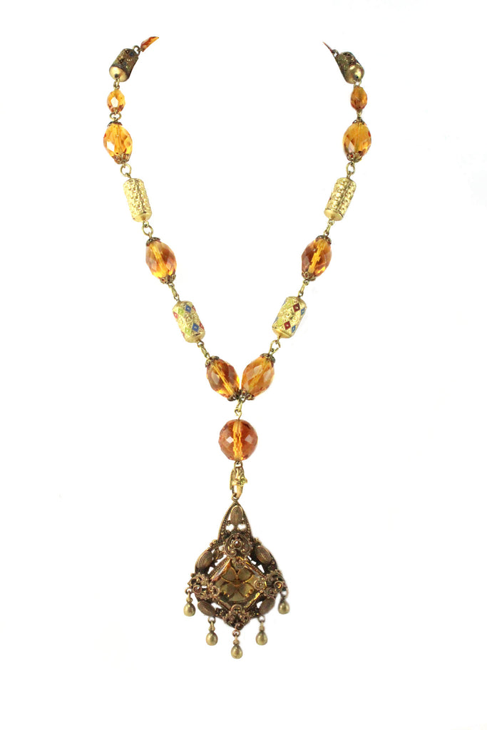1950S UNSIGNED CITRINE AND FACETED GLASS NECKLACE