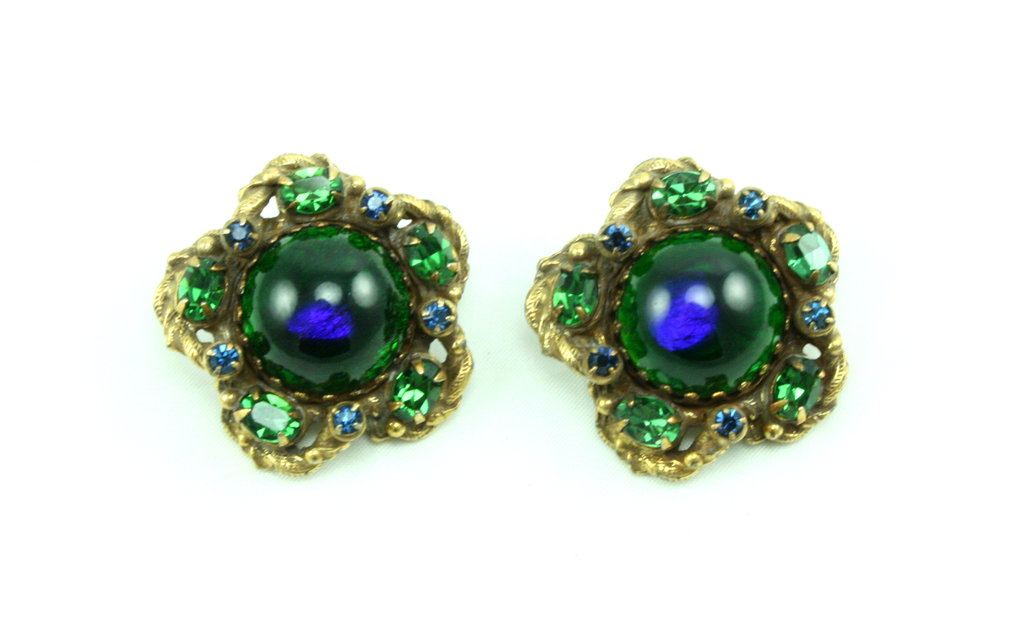 1950'S FLORENZA PEACOCK EARRINGS