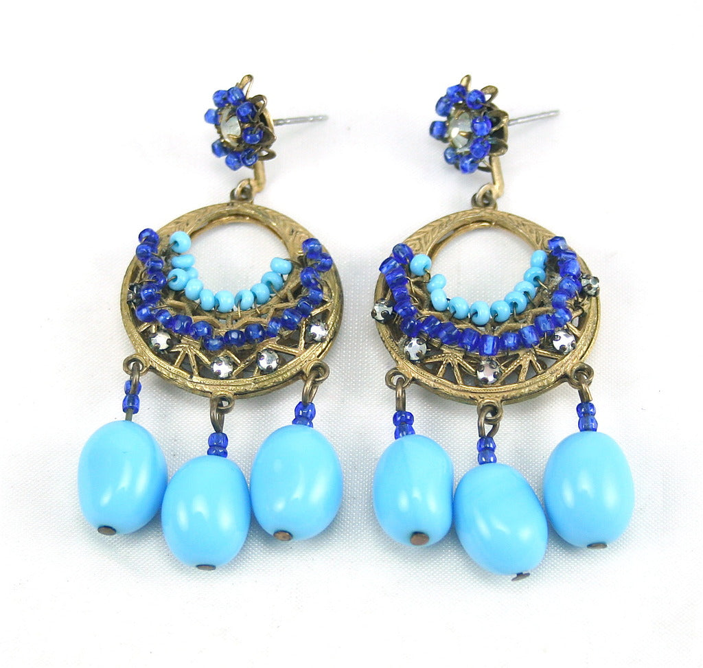 1960'S MIRIAM HASKELL TURQUOISE EARRINGS