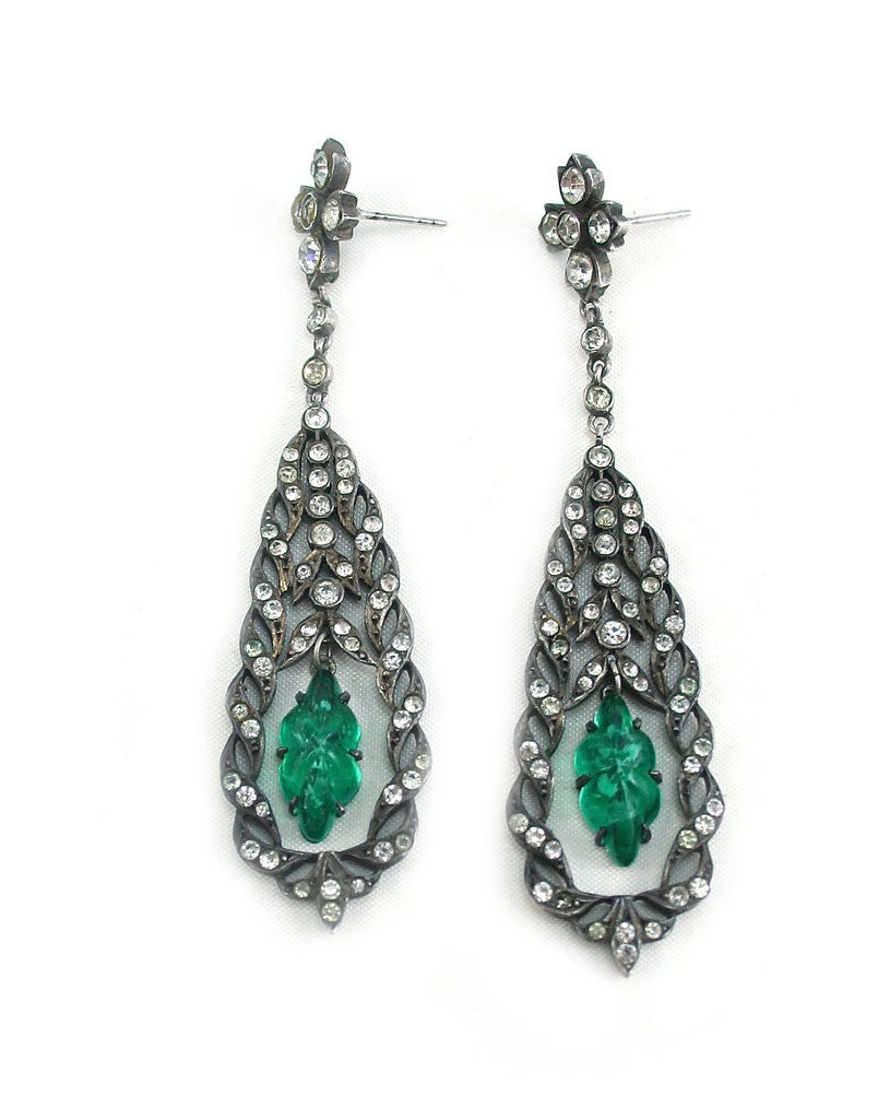 VICTORIAN PASTE EMERALD EARRINGS