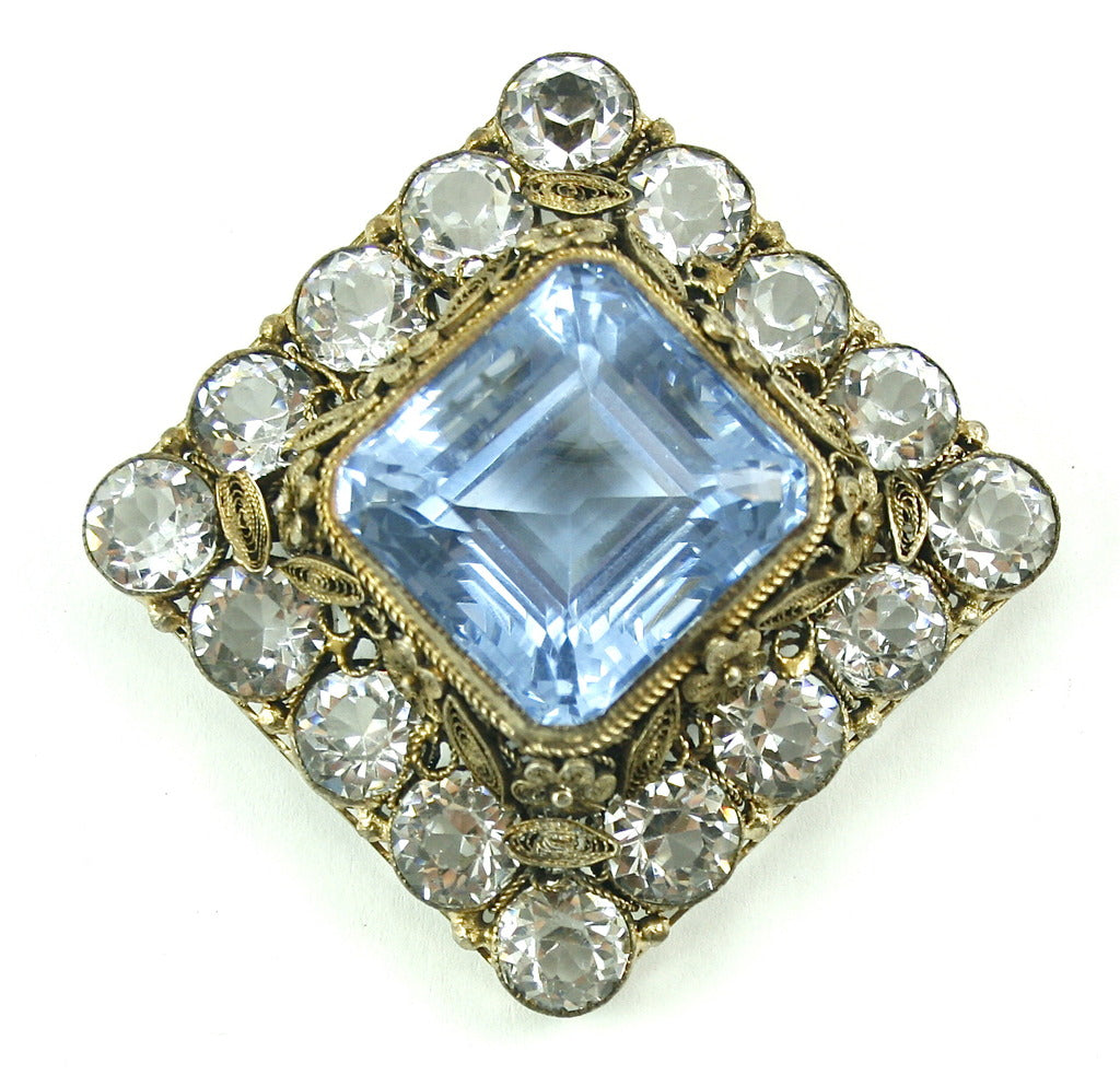 HOBE BLUE AND CRYSTAL BROOCH