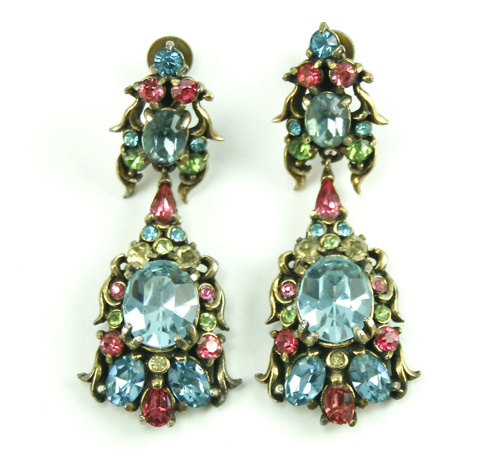 1950'S HOLLYCRAFT MULTI COLORED EARRINGS