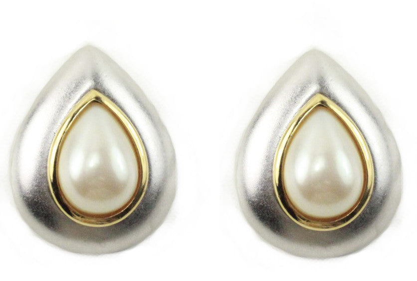 1980'S YSL PEARL TEAR DROP EARRINGS