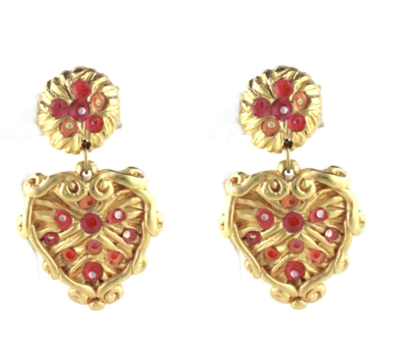 HEART DANGLE GOLD EARRINGS WITH MULTI COLOR ACCENTS