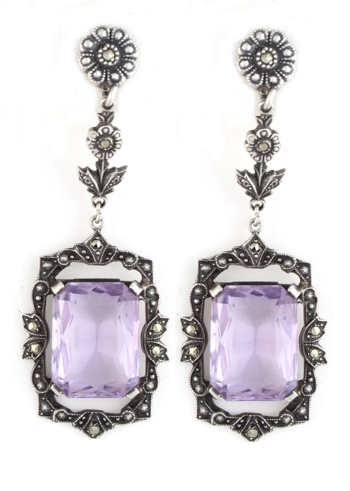 EDWARDIAN SILVER AND AMETHYST EARRINGS