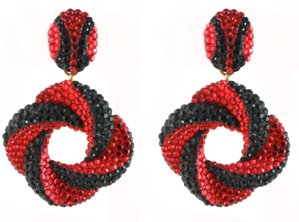 1980's UNSIGNED RED AND BLACK EARRINGS