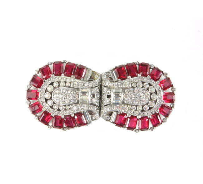 1930'S TRIFARI RUBY DRESS CLIPS