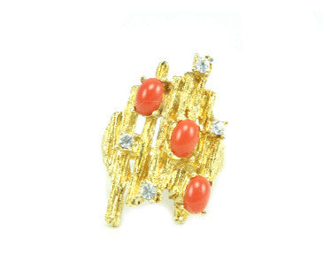 UNSIGNED GOLD AND CORAL RING