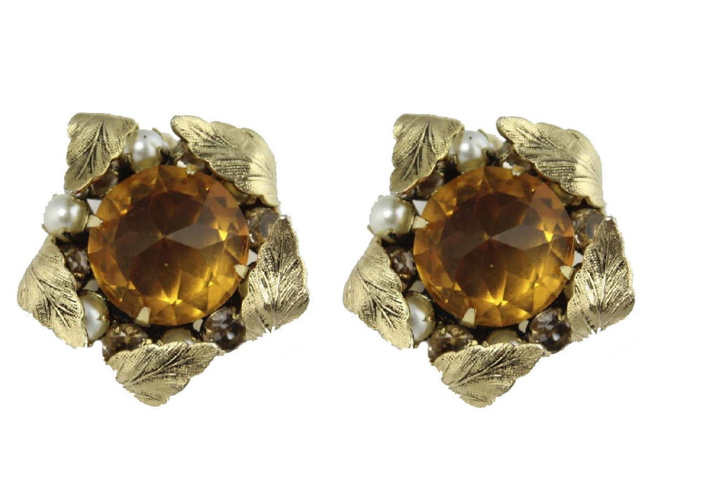 1950'S SCHREINER BROWN EARRINGS