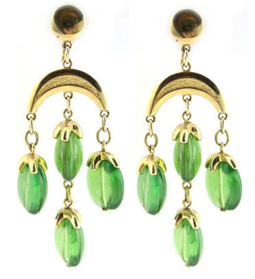 TRIFARI GREEN DROP EARRINGS