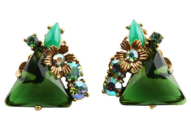 1950s Unsigned Green Triangular Earrings