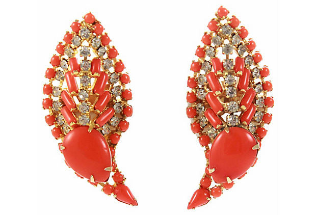 1960s Unsigned Orange Leaf Earrings