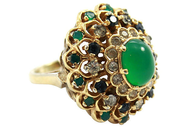 1950's Panetta Gold and Green Ring